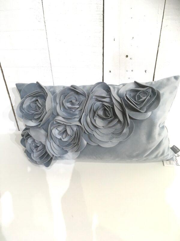 Coussin Floral - Gris