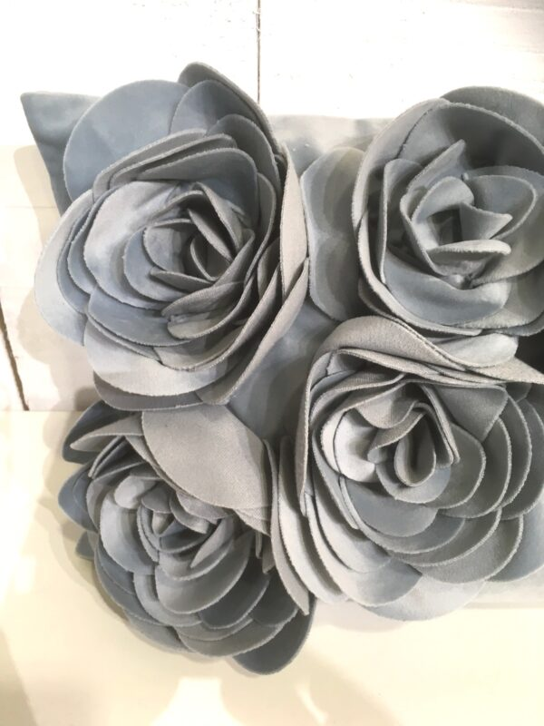 Coussin Floral - Gris Zoom