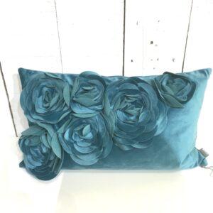 Coussin Floral - Aqua
