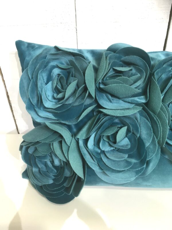 Coussin Floral - Aqua Zoom